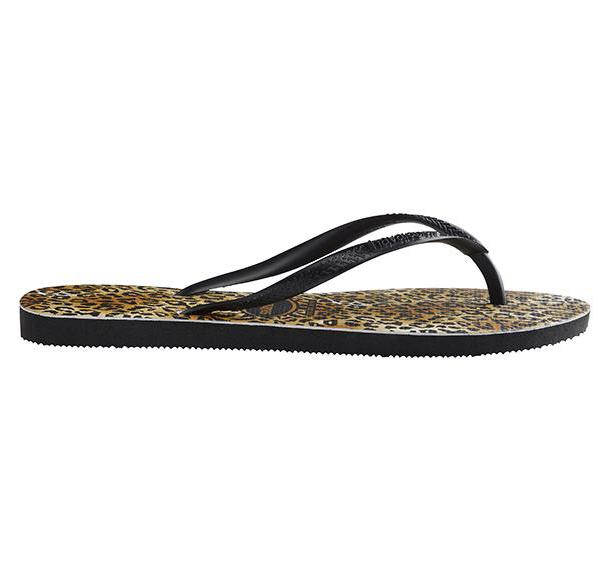HAVAIANAS Slim Animal Leopard Black Gold Single Flat