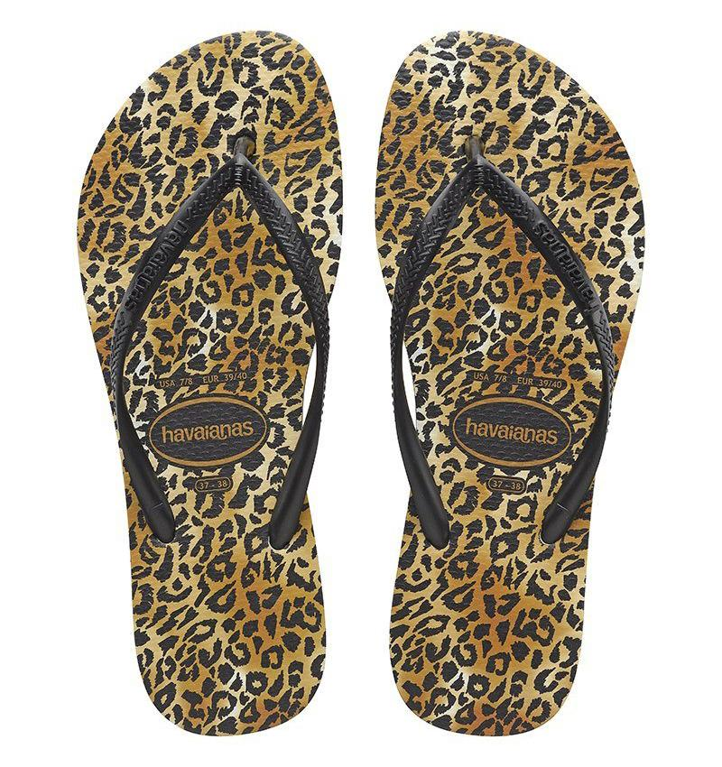 HAVAIANAS Slim Animal Leopard Black Gold Pair
