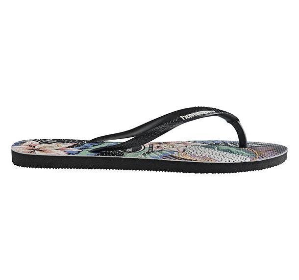 HAVAIANAS Slim Floral Dots Black Single Flat