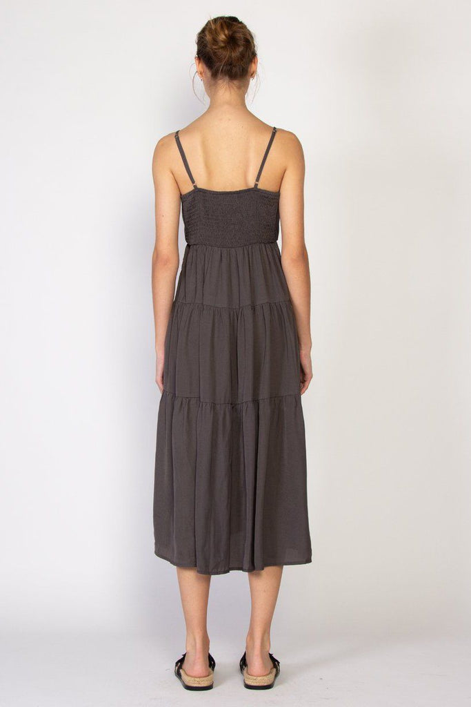 FEDERATION Tier Dress Charcoal Back