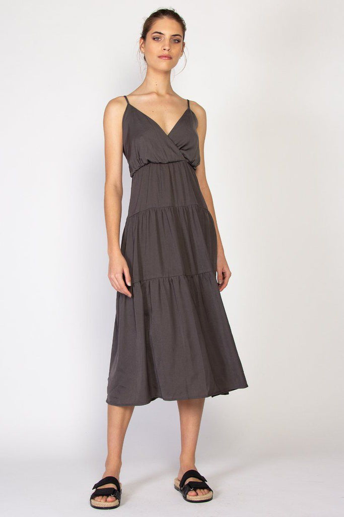 FEDERATION Tier Dress Charcoal Front Full