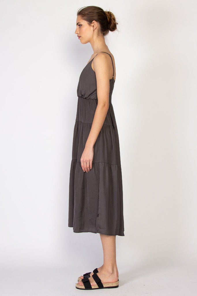 FEDERATION Tier Dress Charcoal Side