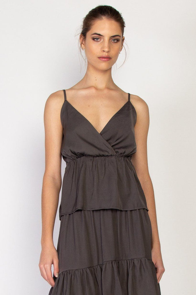 FEDERATION Tier Dress Charcoal Front