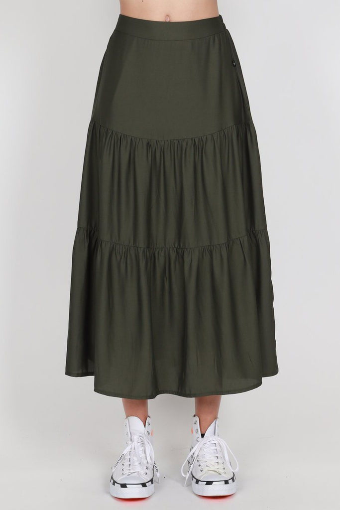 FEDERATION Tier Skirt Olive Front