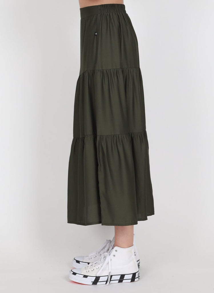 FEDERATION Tier Skirt Olive Side