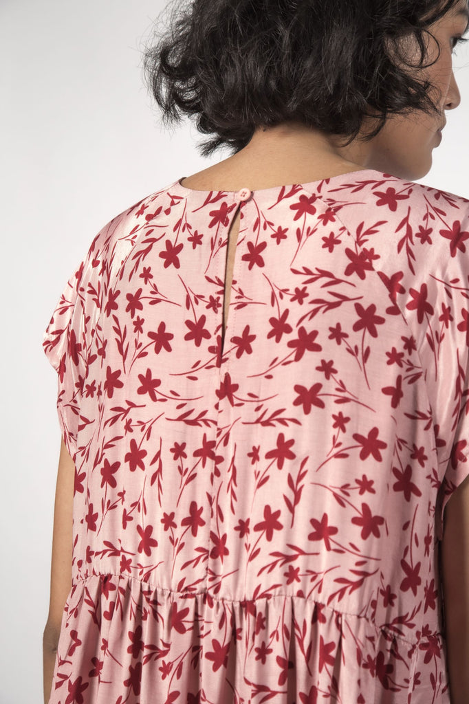 THINGTHING Twirl Dress Floral Pink Back Detail