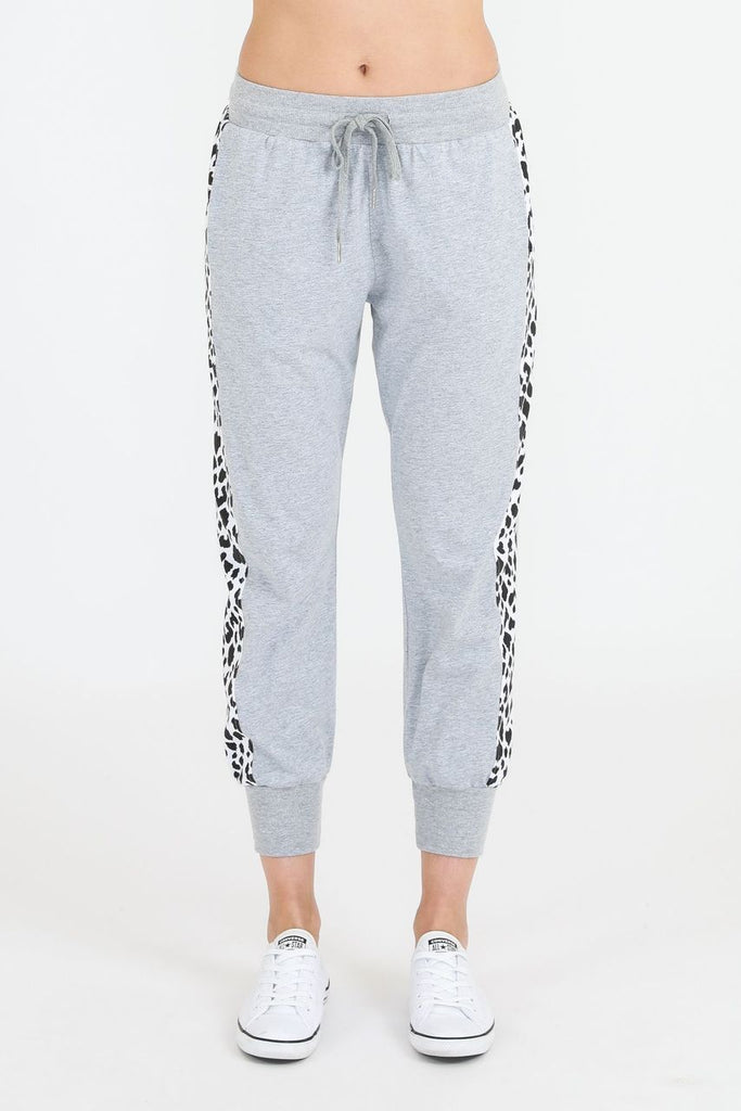 SAT AND SUN Leopard Panel Jogger Grey Marle Front