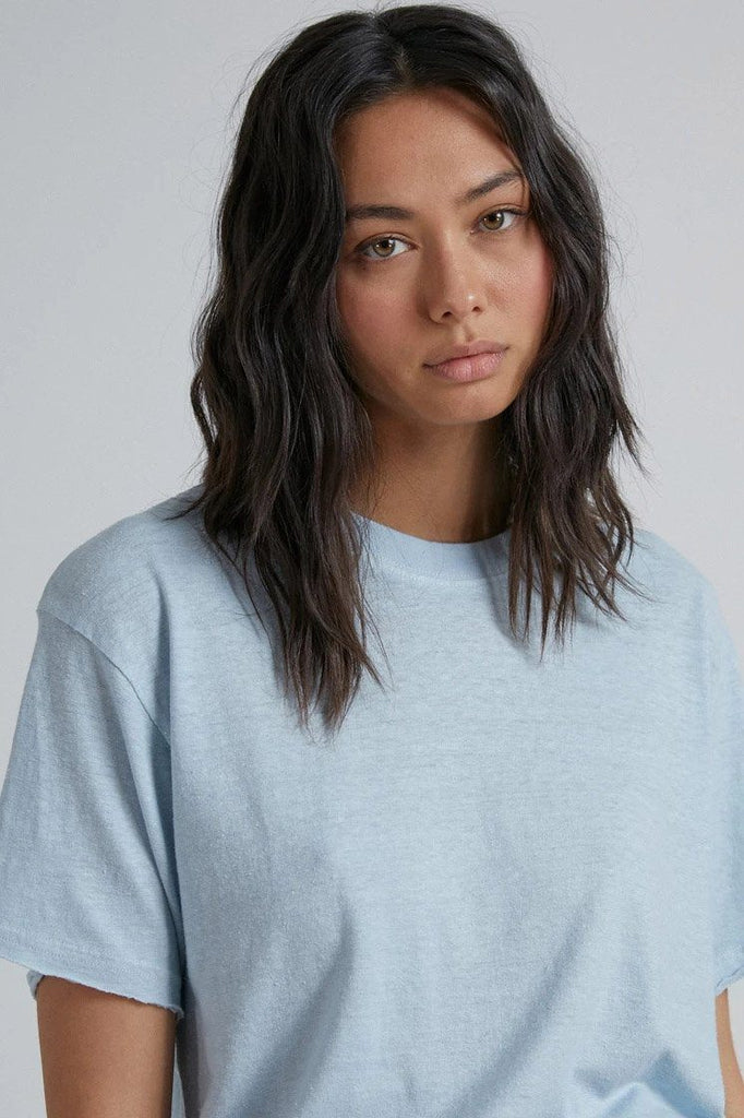 AFENDS Slay Hemp Oversized Tee Baby Blue Front Close Up