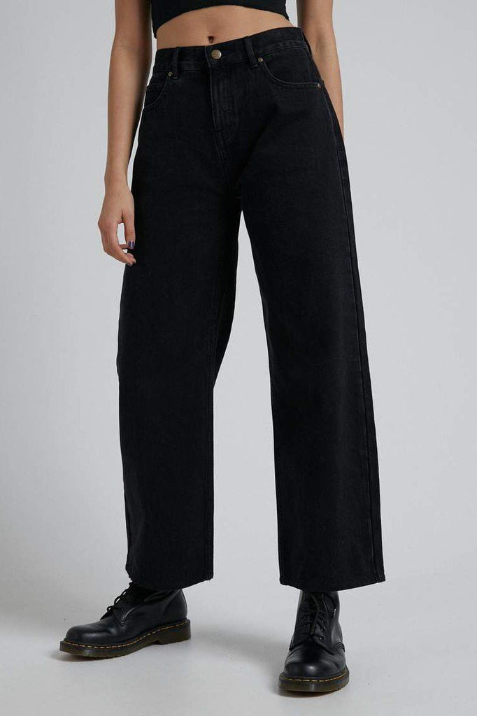 AFENDS Kendall Organic Denim Low Rise Relaxed Jean Washed Black Front