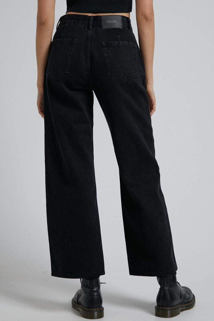 AFENDS Kendall Organic Denim Low Rise Relaxed Jean Washed Black Back