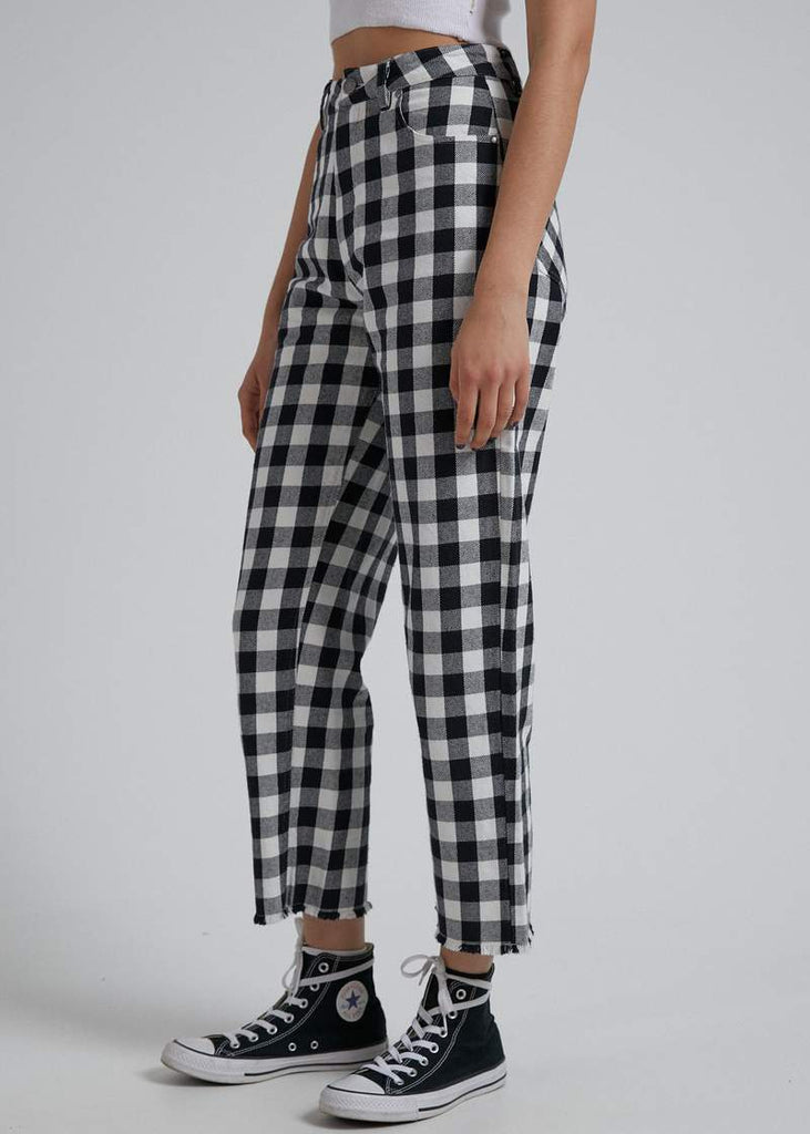 AFENDS Shelby Gingham Twill Pant Black White side