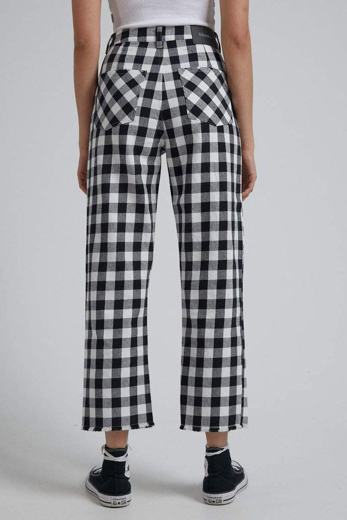 AFENDS Shelby Gingham Twill Pant Black White Back