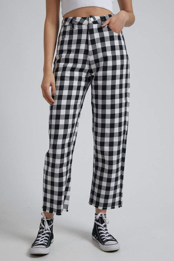 AFENDS Shelby Gingham Twill Pant Black White Front