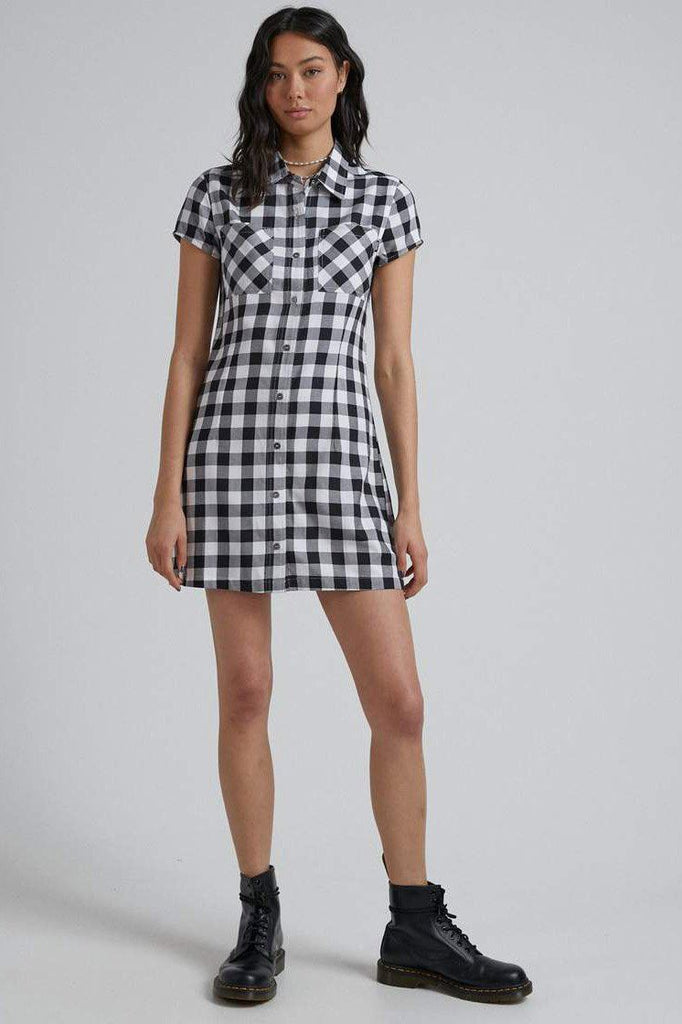 AFENDS Piper Gingham Dress Black White Front Full