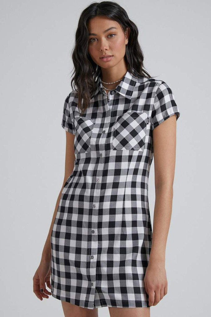 AFENDS Piper Gingham Dress Black White
