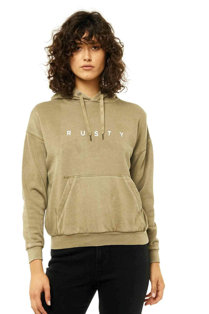 RUSTY Essentails Crew Neck Fleece Faded Olive Front