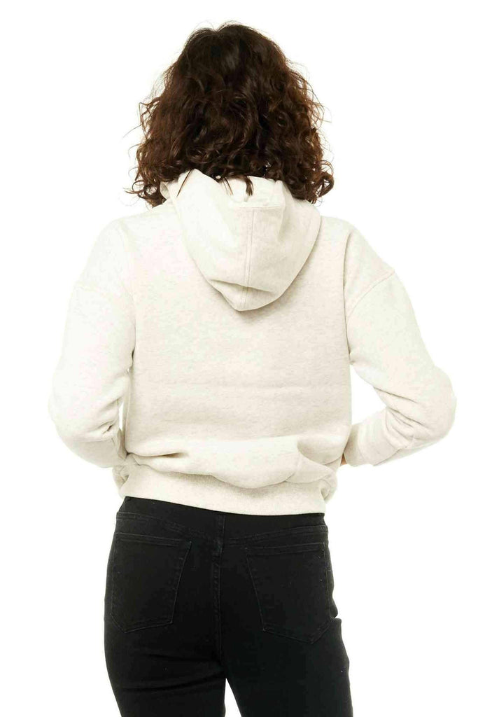 RUSTY Essentails Hooded Fleece White Marle Back