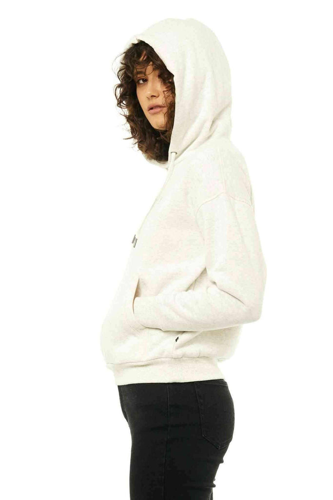 RUSTY Essentails Hooded Fleece White Marle Side
