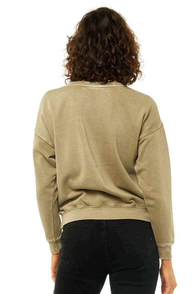 RUSTY Essentails Crew Neck Fleece Faded Olive Back