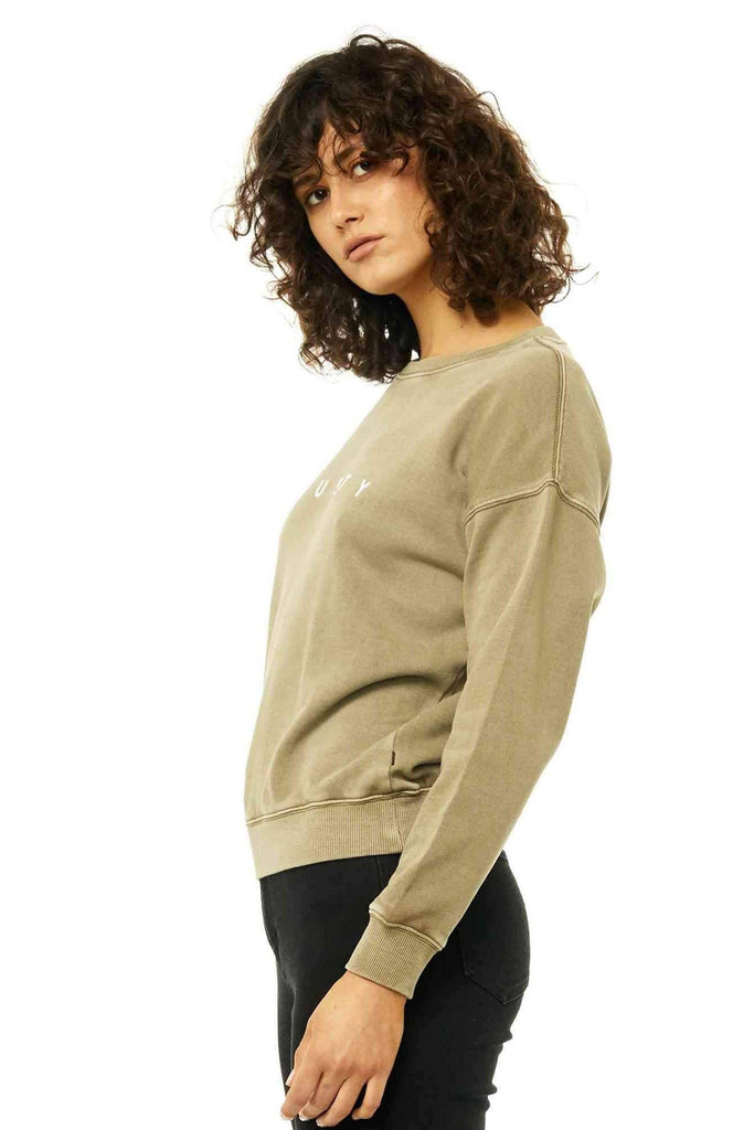 RUSTY Essentails Crew Neck Fleece Faded Olive Side