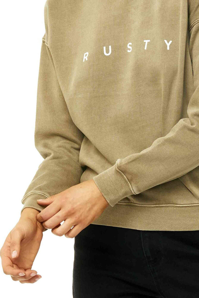 RUSTY Essentails Crew Neck Fleece Faded Olive Front Detail