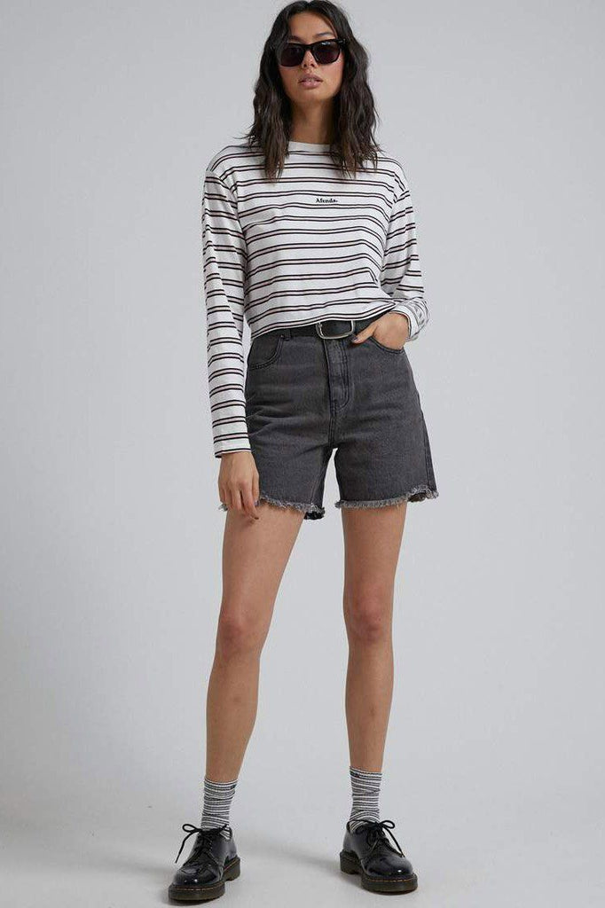 AFENDS Niko Stripe Cropped Ls Tee Off White Front Full