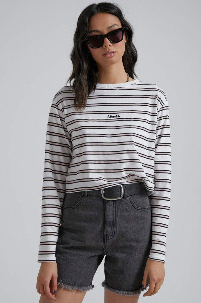 AFENDS Niko Stripe Cropped Ls Tee Off White Front