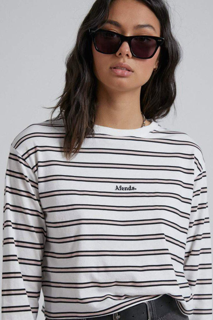 AFENDS Niko Stripe Cropped Ls Tee Off White Front Close Up