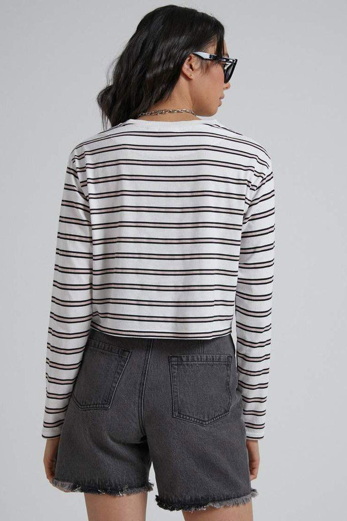 AFENDS Niko Stripe Cropped Ls Tee Off White back