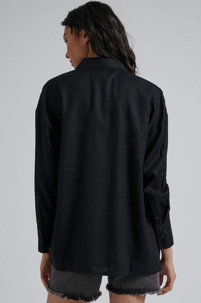 AFENDS Willa Hemp Os Long Sleeve Shirt Black Back