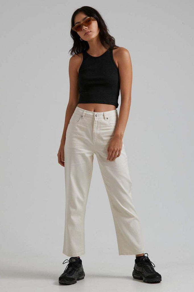 AFENDS Shelby Hemp Twill High Waist Wide Leg Pant Natural Front Full