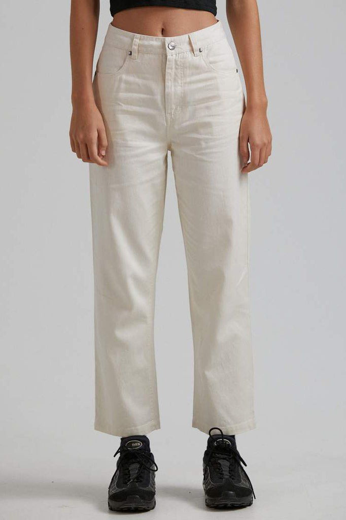 AFENDS Shelby Hemp Twill High Waist Wide Leg Pant Natural Front