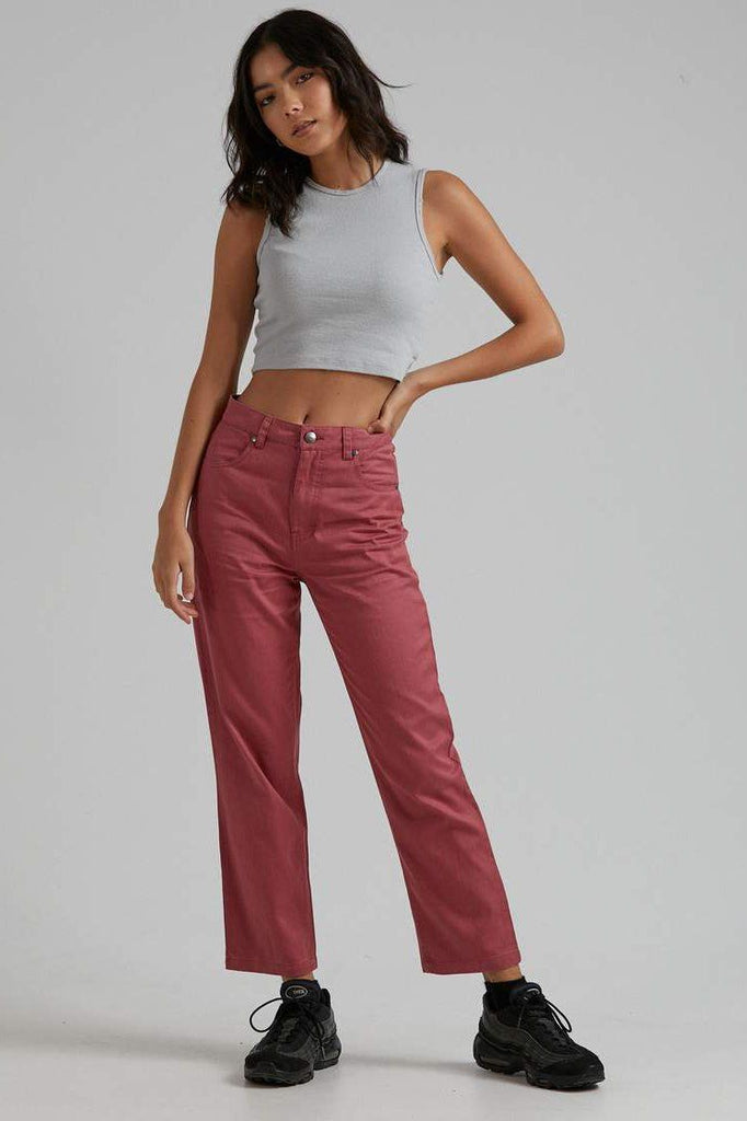 AFENDS Shelby Hemp Wide Leg Pant Watermelon Front Full