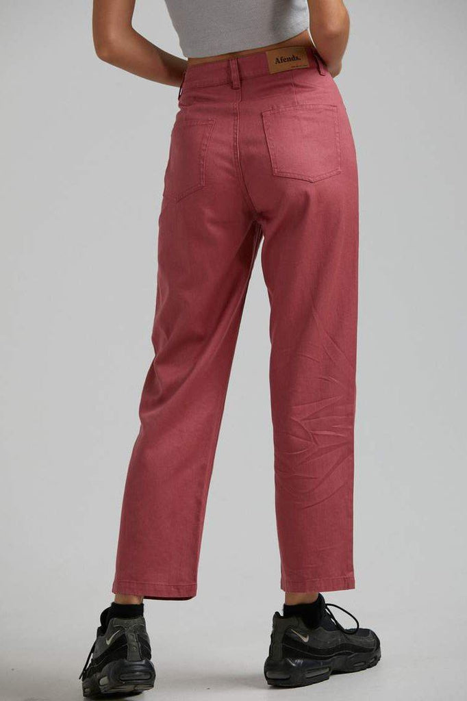 AFENDS Shelby Hemp Wide Leg Pant Watermelon Back