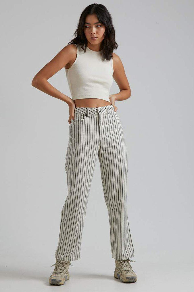 AFENDS Shelby Hemp Stripe Wide Leg Pant Cream Front Full