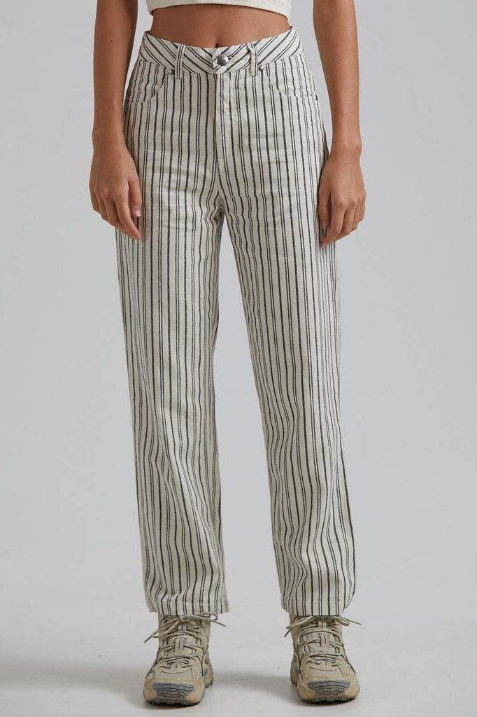 AFENDS Shelby Hemp Stripe Wide Leg Pant Cream Front