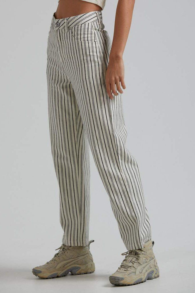 AFENDS Shelby Hemp Stripe Wide Leg Pant Cream Side Angle