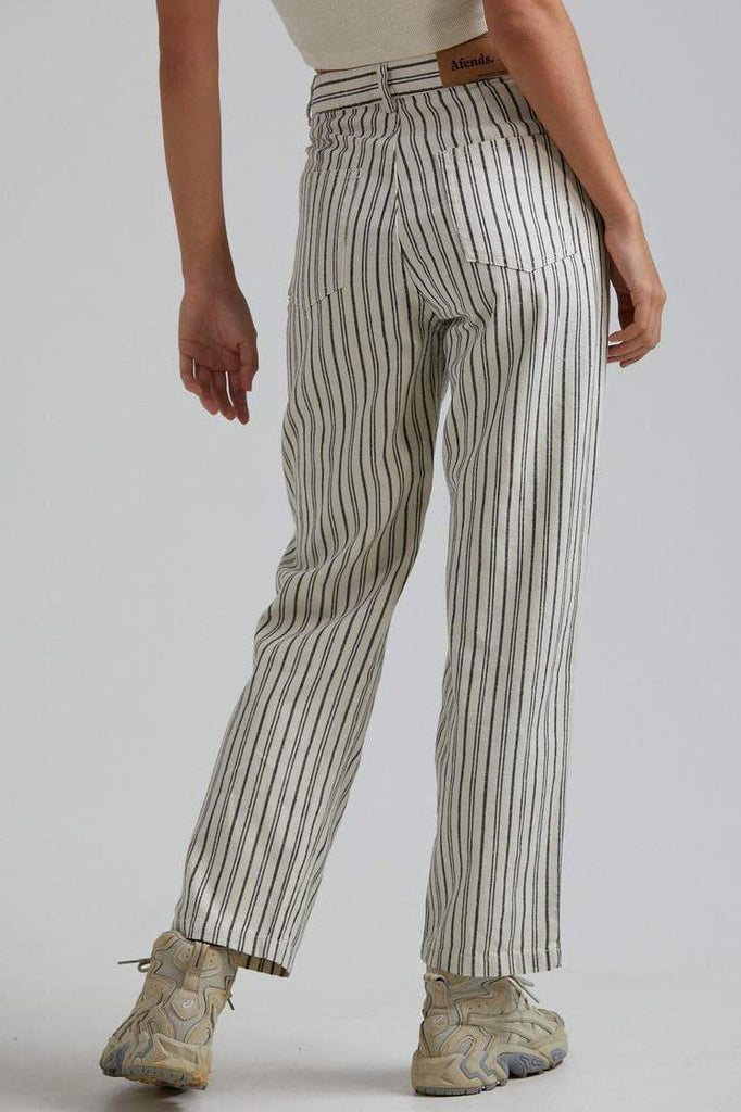 AFENDS Shelby Hemp Stripe Wide Leg Pant Cream Back