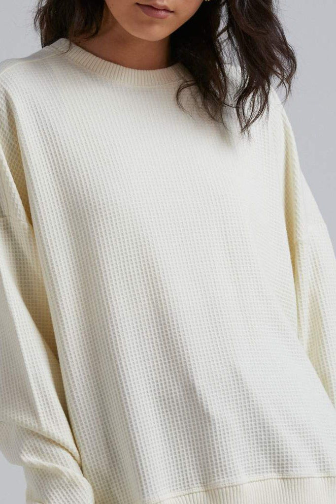 AFENDS Briar Waffle Slouchy Crew Cream Front Close Up