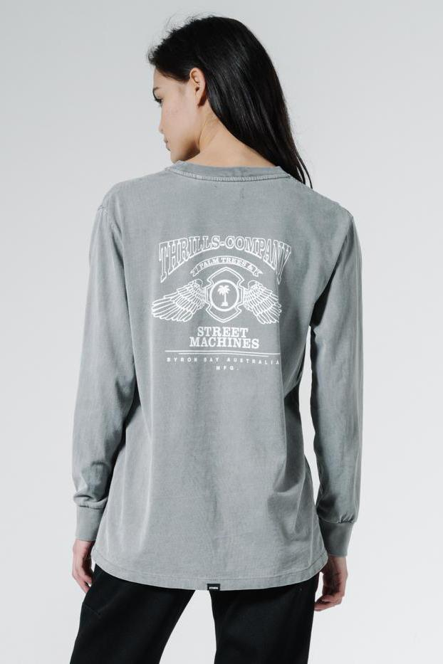 THRILLS Blackmoon Merch Fit Ls Tee Washed Grey Back
