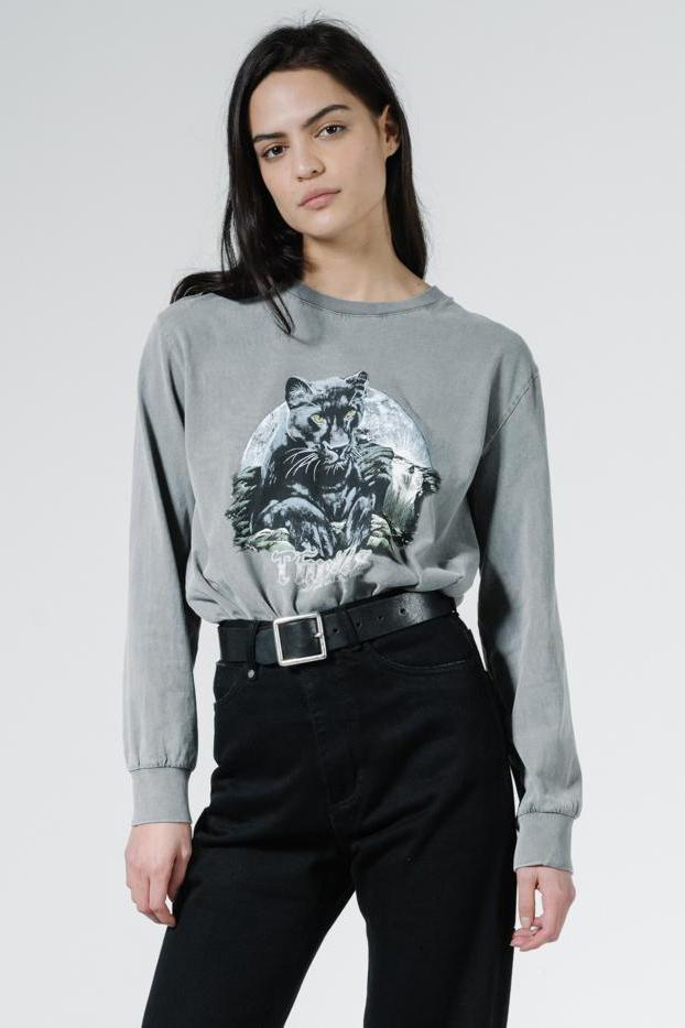 THRILLS Blackmoon Merch Fit Ls Tee Washed Grey Front