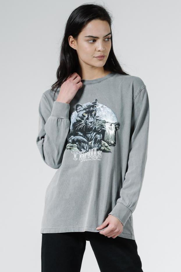 THRILLS Blackmoon Merch Fit Ls Tee Washed Grey Front Loose