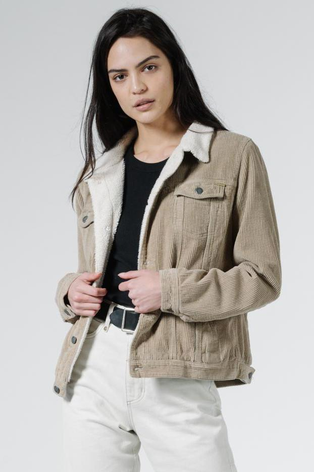 THRILLS Bianca Cord Jacket Dusk Green Front