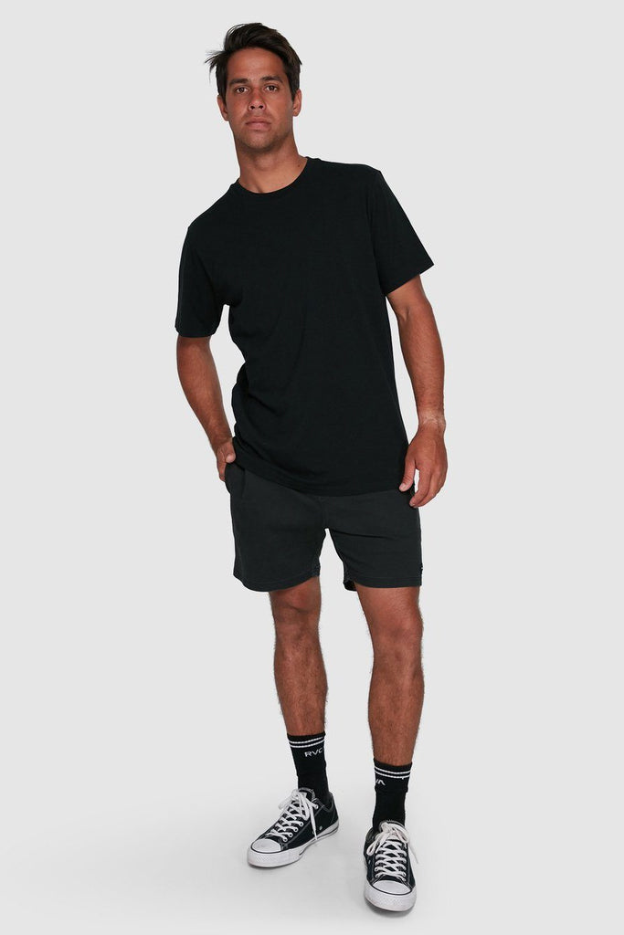RVCA Washed Tee Black Front Full