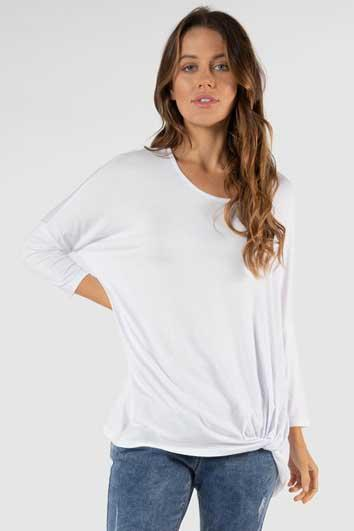 BETTY BASICS Atlanta 3 4 Sleeve Top White Front