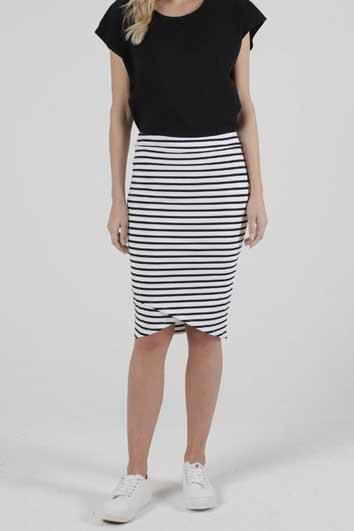 BETTY BASICS Siri Skirt White Black Stripe Front