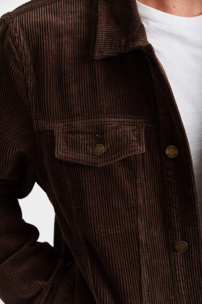ROLLAS Cord Jacket Brown Close Up