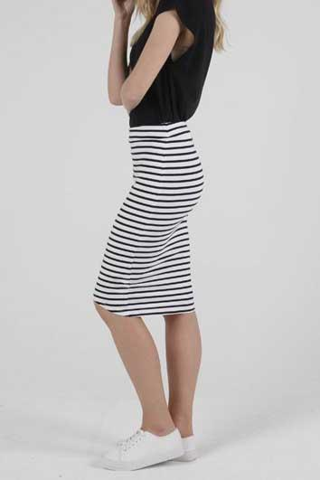 BETTY BASICS Siri Skirt White Black Stripe Side