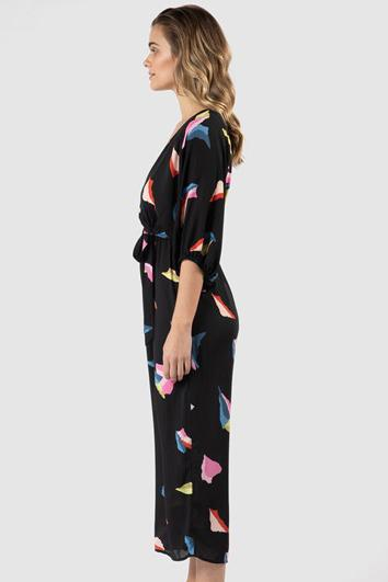 SASS Malmo Wrap Jumpsuit Art Print Side