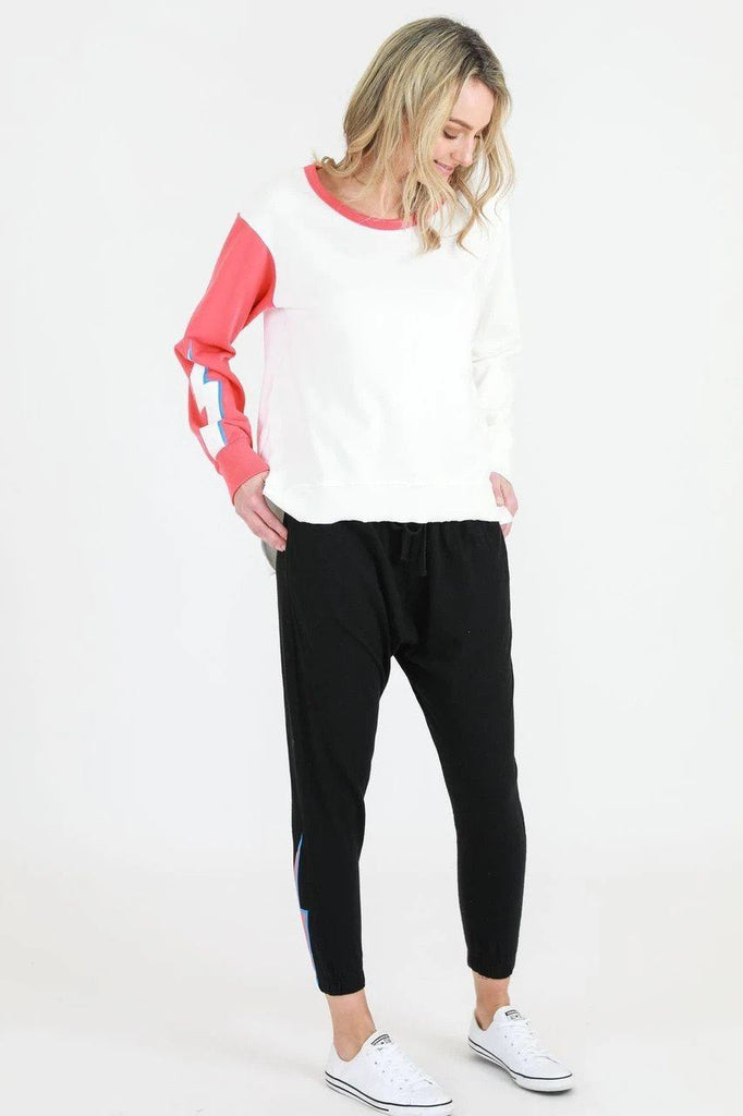 SAT AND SUN Contrast Lightening Sweat White Front